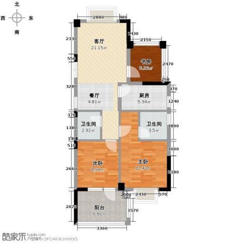 天鸿香榭里3室1厅2卫1厨88.00㎡户型图