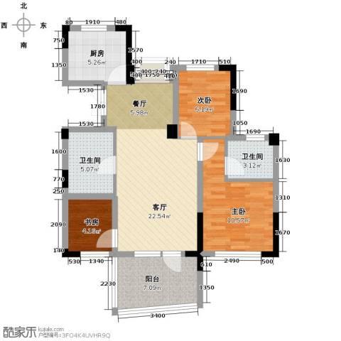 天鸿香榭里3室1厅2卫1厨86.00㎡户型图