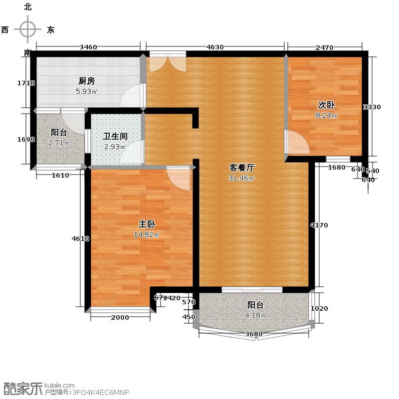 中粮易筑123.00㎡户型2室1厅1卫1厨
