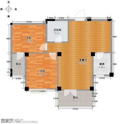 现代家园2室1厅1卫1厨89.00㎡户型图