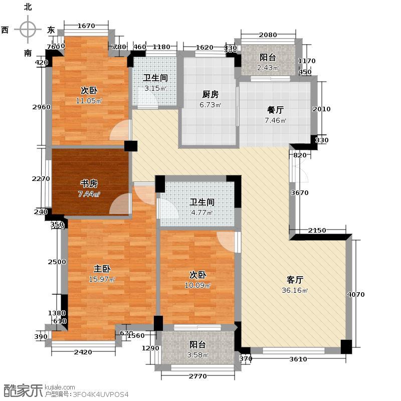 景丽华庭128.00㎡三期4、5号楼标准层边套F户型4室1厅2卫1厨