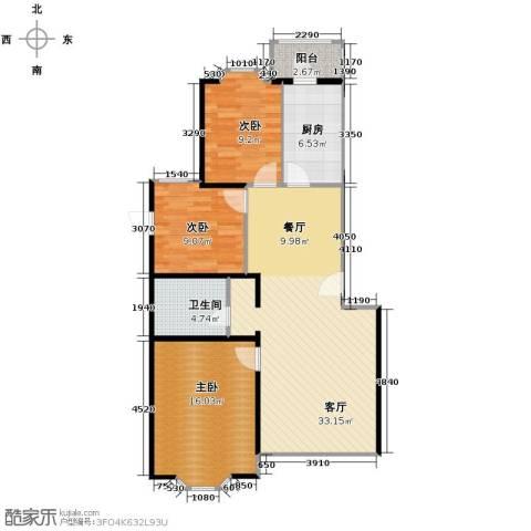 北景园芳洲苑3室1厅1卫1厨110.00㎡户型图