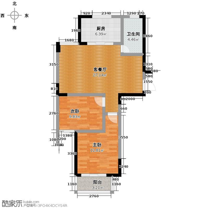 金顺锦绣时代89.70㎡一期公寓2号楼标准层1层C户型2室1厅1卫1厨