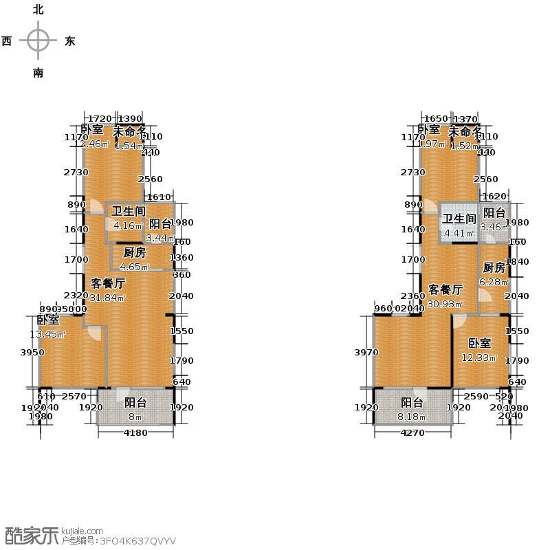 西鉴枫景88.00㎡2幢3-17层户型2厅2卫2厨