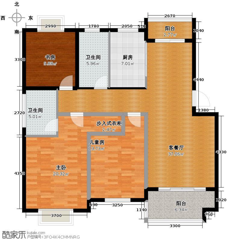 帝凯帝景园115.59㎡B4户型3室1厅2卫1厨