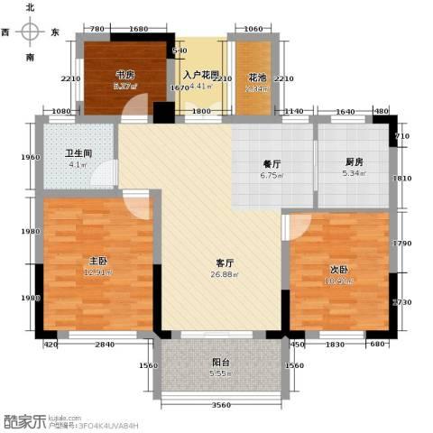 宇恒明月星城3室1厅1卫1厨89.00㎡户型图