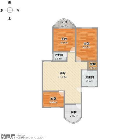 东方明珠大宁公寓3室1厅2卫1厨63.00㎡户型图
