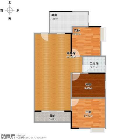 湘域中央花园3室1厅1卫1厨102.00㎡户型图
