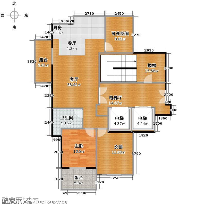 赞成乐山红叶90.00㎡E户型3室2厅1卫