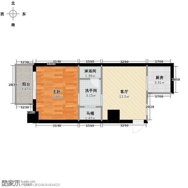 东和时代56.00㎡E户型1室1厅1厨