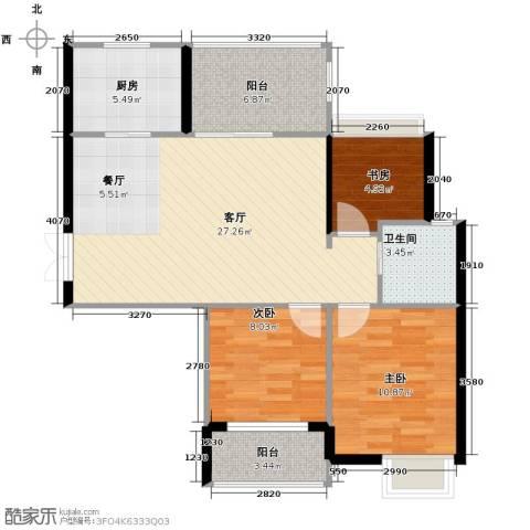 上东名筑3室1厅1卫1厨97.00㎡户型图