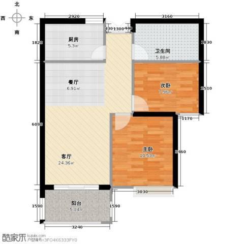 上东名筑2室1厅1卫1厨83.00㎡户型图