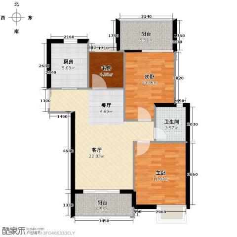 上东名筑3室1厅1卫1厨95.00㎡户型图