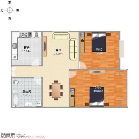 龙鼎花园2室1厅1卫1厨119.00㎡户型图