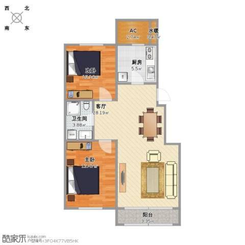 巴黎梦夏2室1厅1卫1厨90.00㎡户型图