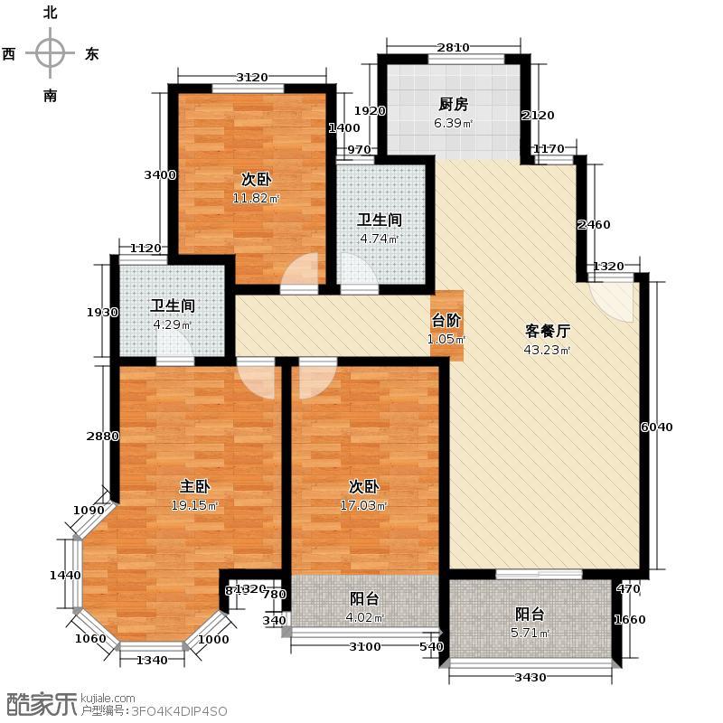 华城格之林花园118.01㎡户型3室1厅2卫
