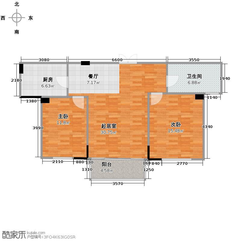 正中尚品庭院81.90㎡7-19-8户型2室1卫1厨