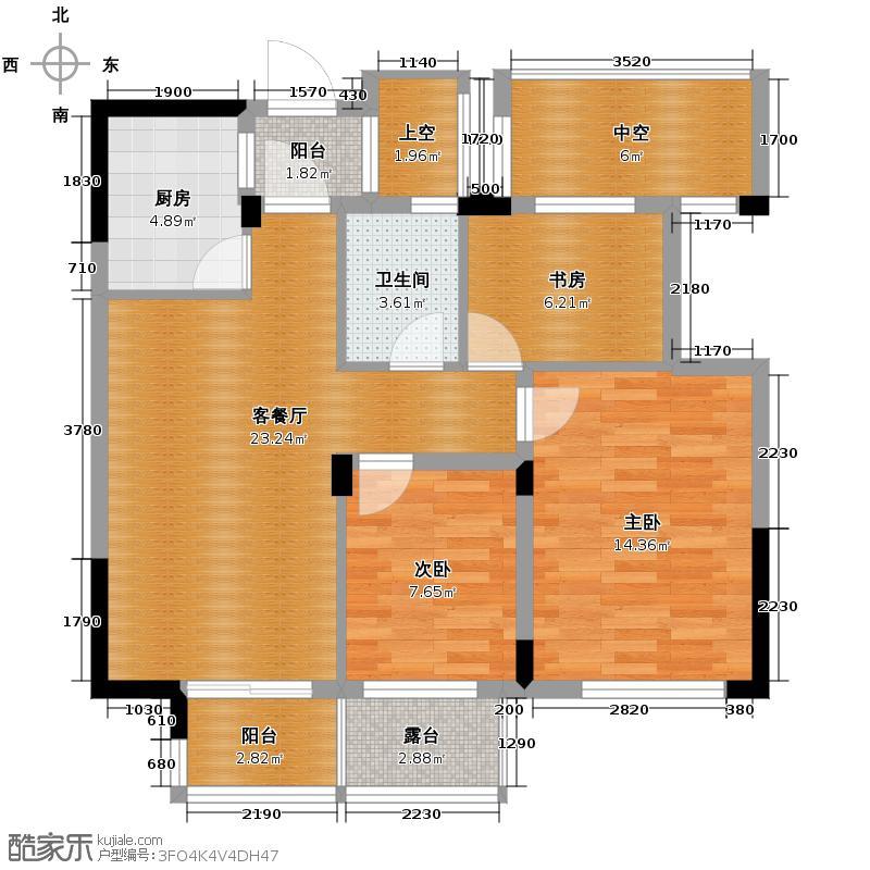 滨江万家星城88.00㎡二期6幢中间套奇数层H1户型3室1厅1卫1厨