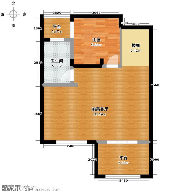 保利东湾114.00㎡四期7号楼8号楼标准层E2二层户型1室1卫