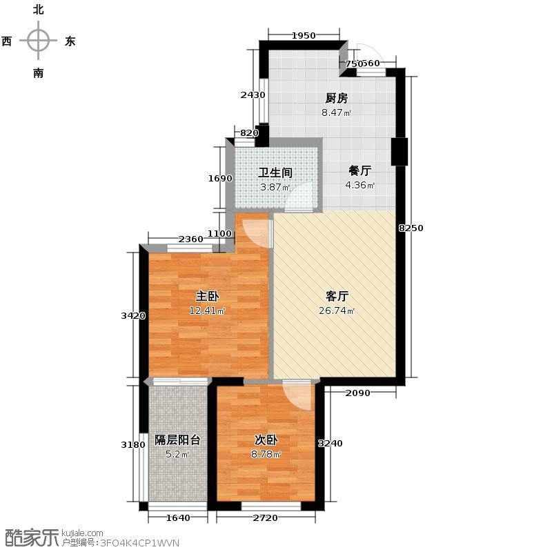 顺发康庄74.00㎡4、5号楼中间套a户型2室1厅1卫