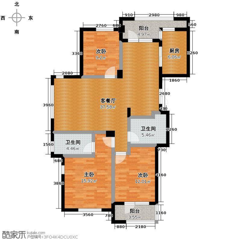 美好桂花金座135.00㎡H户型3室1厅2卫1厨