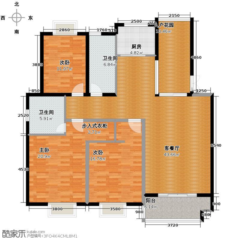 帝凯帝景园135.00㎡一期B1户型3室1厅2卫1厨
