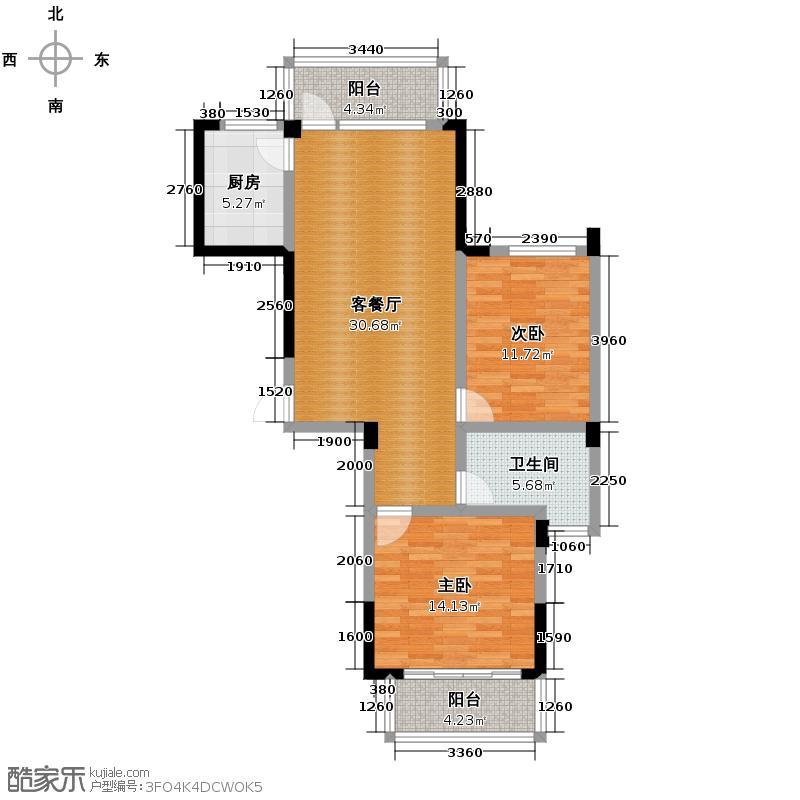 金顺锦绣时代97.32㎡一期公寓1号楼标准层2层D户型2室1厅1卫1厨