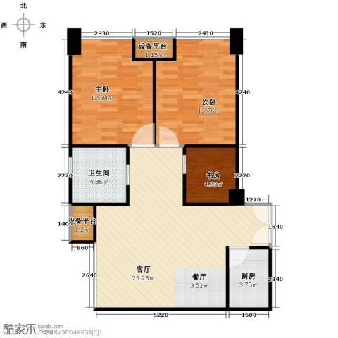 禧福汇3室1厅1卫1厨94.00㎡户型图