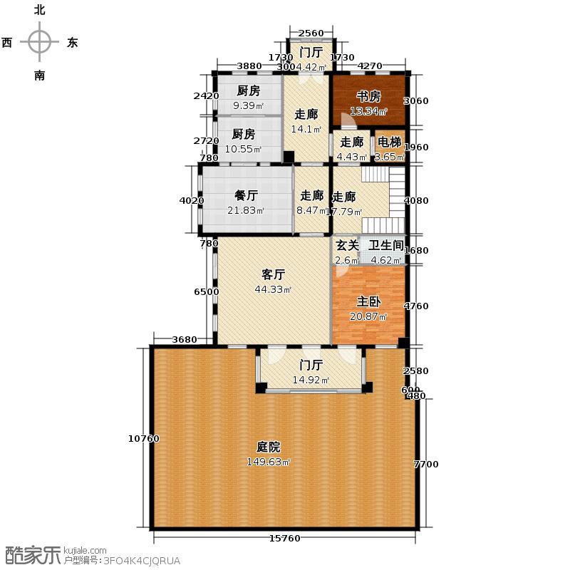 溪上玫瑰园别墅726.00㎡依云苑A二层户型2室2厅1卫2厨