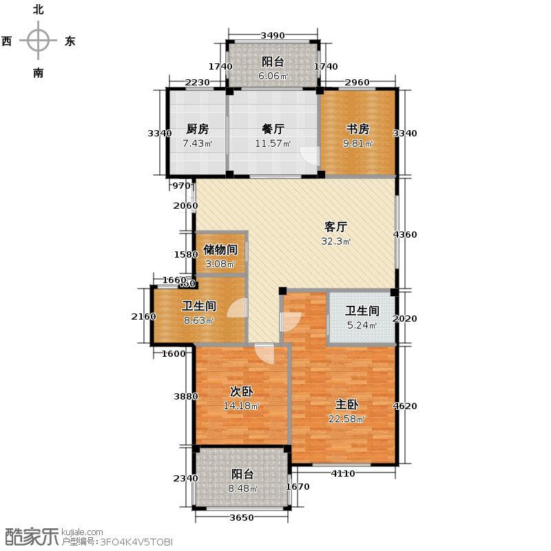 曙光之城139.00㎡A3奇数层户型3室2厅2卫1厨