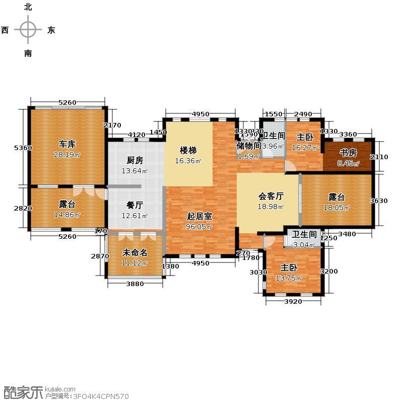 众安景海湾400.00㎡排屋DN3一层空间户型2室2卫