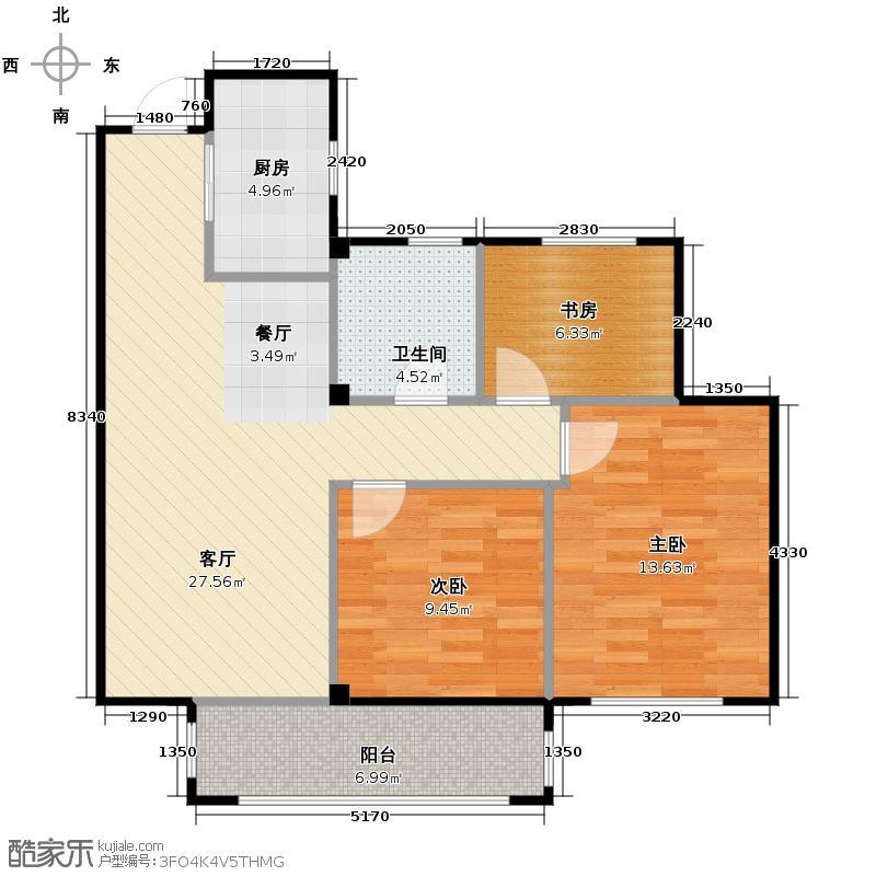 曙光之城89.00㎡E3户型3室1厅1卫1厨