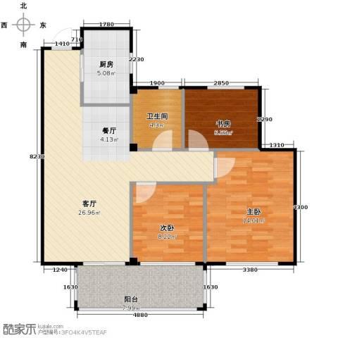 曙光之城3室1厅1卫1厨89.00㎡户型图