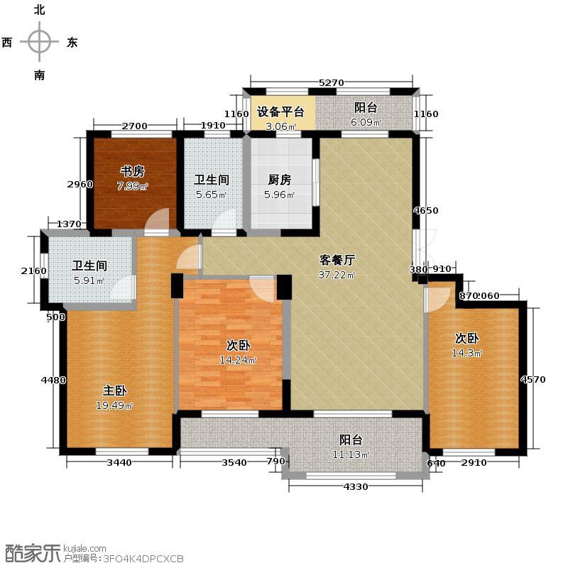 宇恒明月星城157.00㎡F户型4室1厅2卫1厨