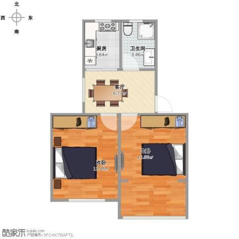莘松七村2室1厅1卫1厨56.00㎡户型图
