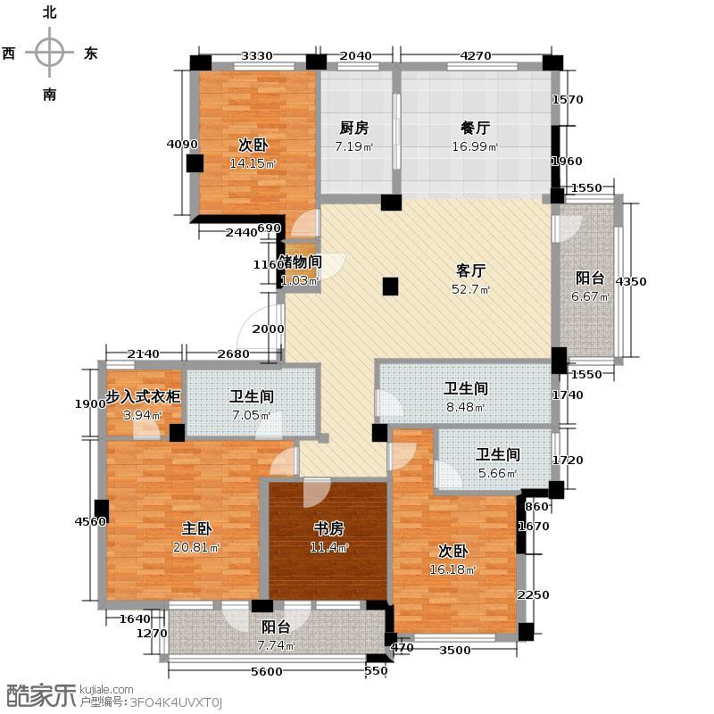 紫兰公寓215.00㎡6号楼东边套K户型4室1厅3卫1厨