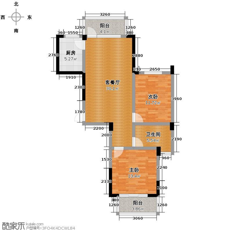 金顺锦绣时代88.69㎡一期公寓1号楼标准层2层A户型2室1厅1卫1厨