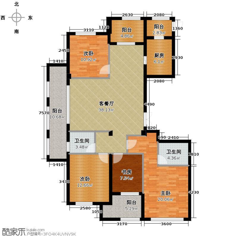 桂花星城160.00㎡一期2号楼、3号楼标准层户型4室1厅2卫1厨
