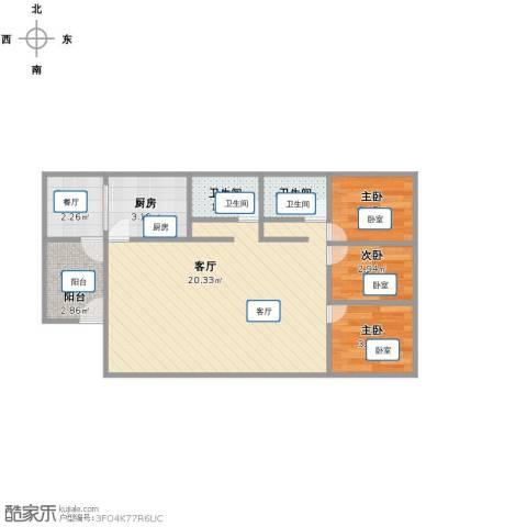 时代华府3室2厅2卫1厨59.00㎡户型图