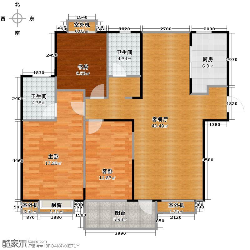 金帝金色钱塘121.00㎡户型3室1厅2卫1厨