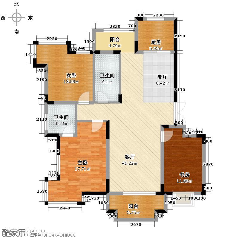 清合嘉园141.00㎡户型3室1厅2卫1厨