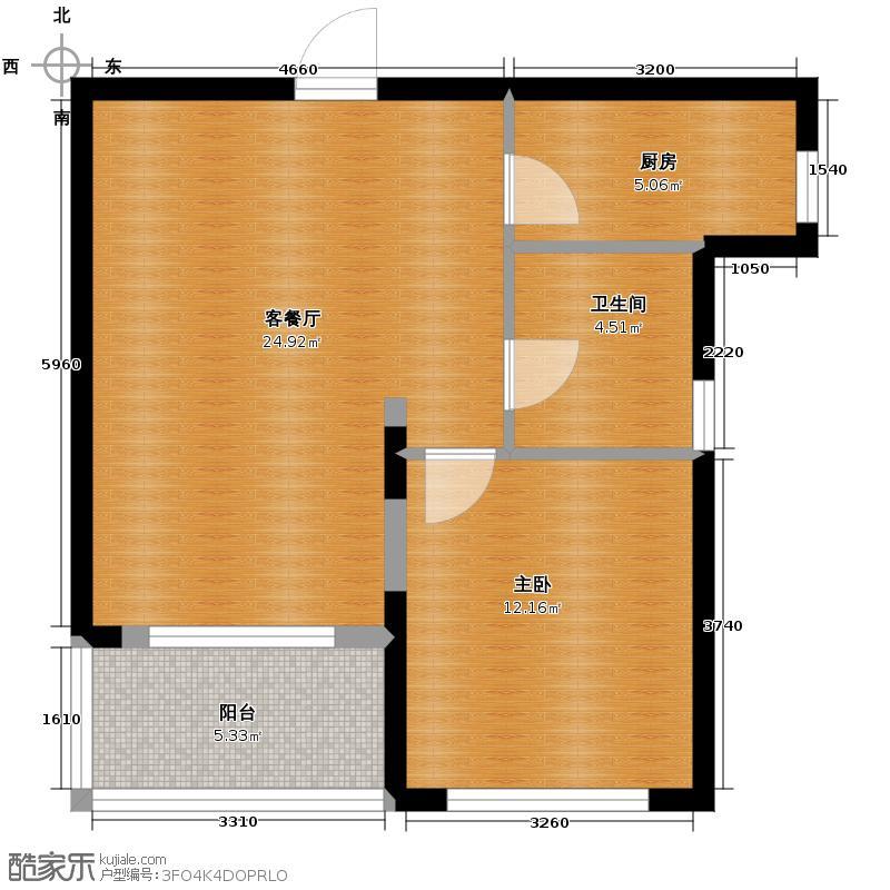 金地自在城66.00㎡cross公寓C-2户型1室1厅1卫1厨