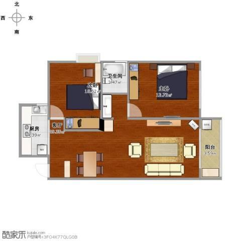 青春水岸2室1厅1卫1厨85.00㎡户型图