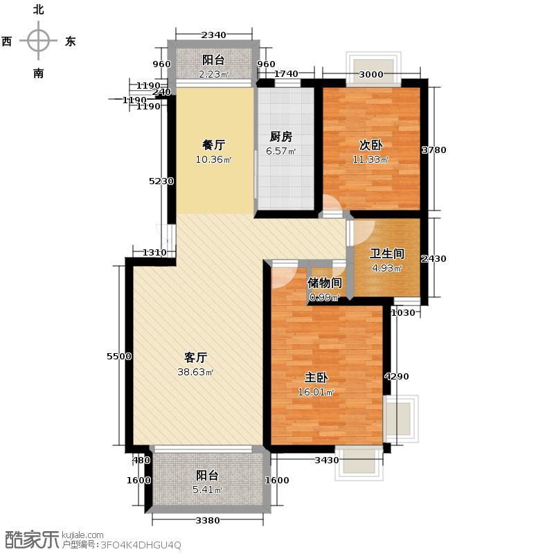 清合嘉园106.30㎡户型2室1厅1卫1厨