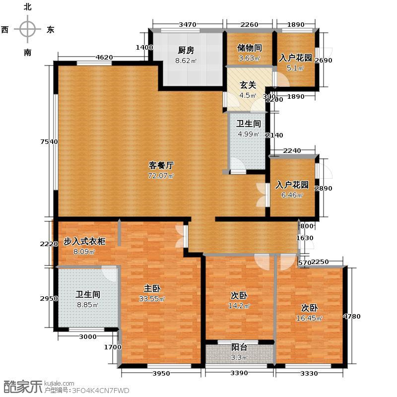 通和府尚公馆261.00㎡A标准层户型3室1厅2卫1厨