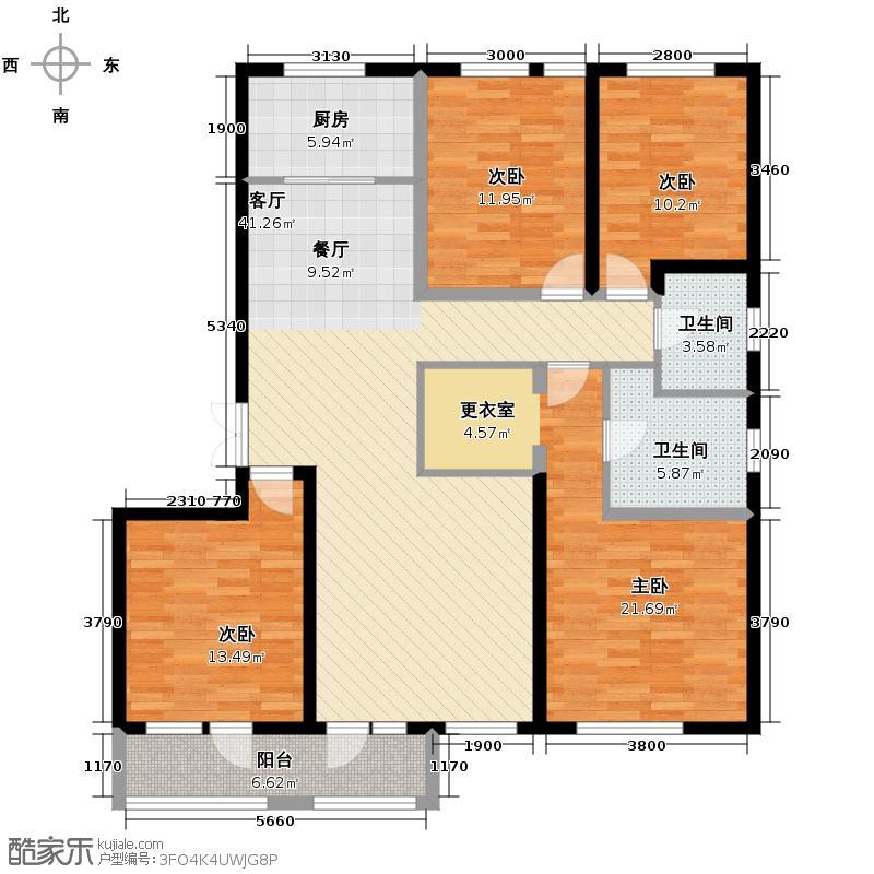 朗诗田园绿郡163.00㎡6号楼-D1户型4室1厅2卫1厨