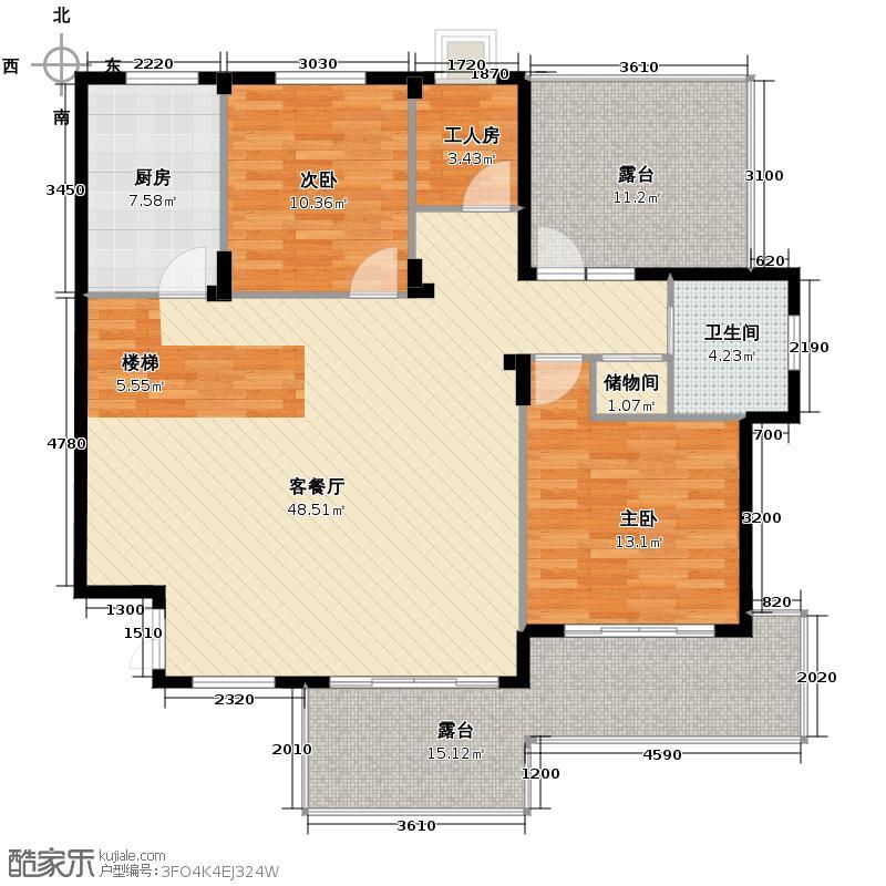 三水一生别墅124.77㎡户型2室1厅1卫1厨