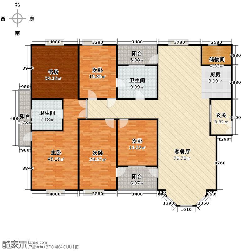 湖畔宽邸249.00㎡户型4室1厅2卫