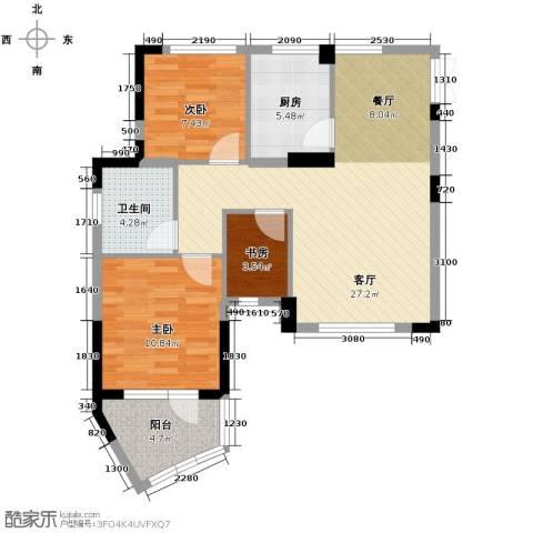 天鸿香榭里3室1厅1卫1厨82.00㎡户型图