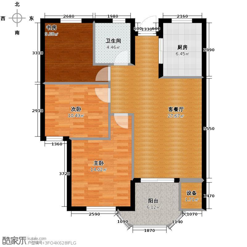 玺之湾89.00㎡B户型3室1厅1卫1厨